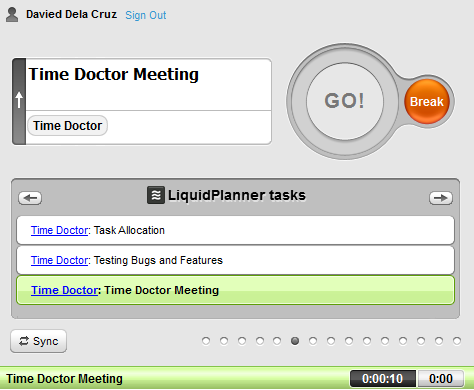 tracking time on liquidplanner tasks with time doctor
