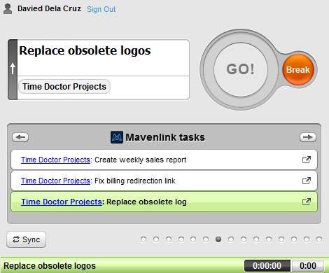 tracking time for mavenlink tasks with time doctor