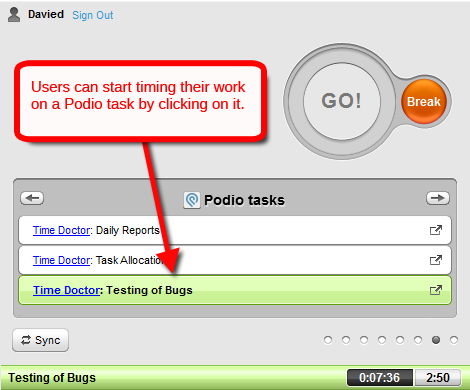 time tracking podio tasks