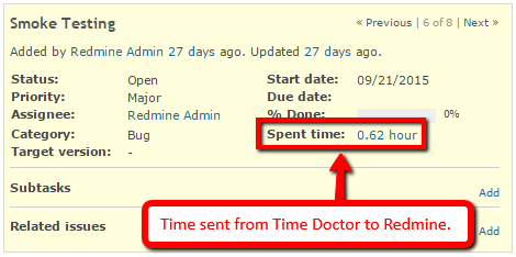 tracked time from time doctor in redmine interface