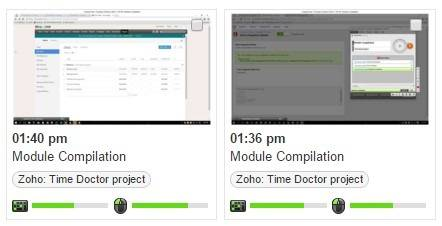 screenshots of work done on zoho tasks