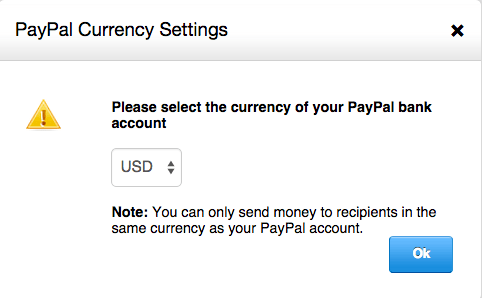 PayPal currency settings