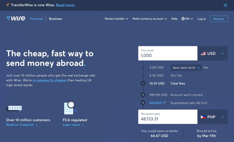 wise (formerly transferwise) homepage 2021