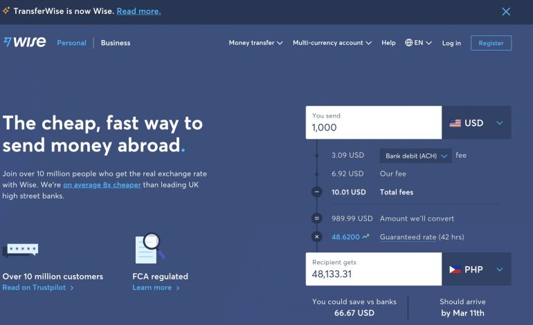wise formerly transferwise homepage