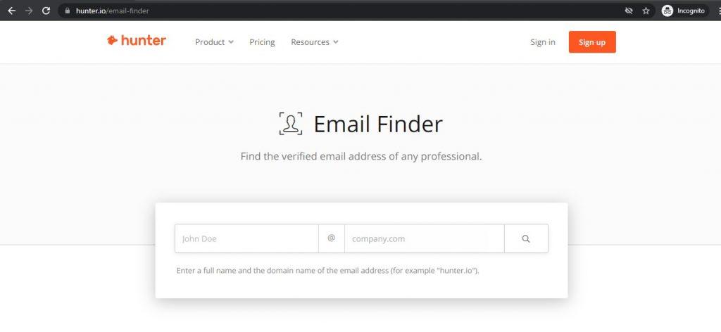 Hunter Email Finder