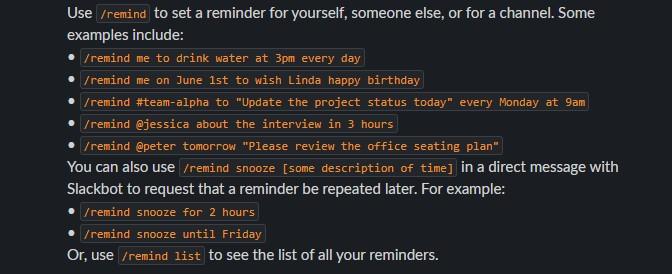 Slack Reminders