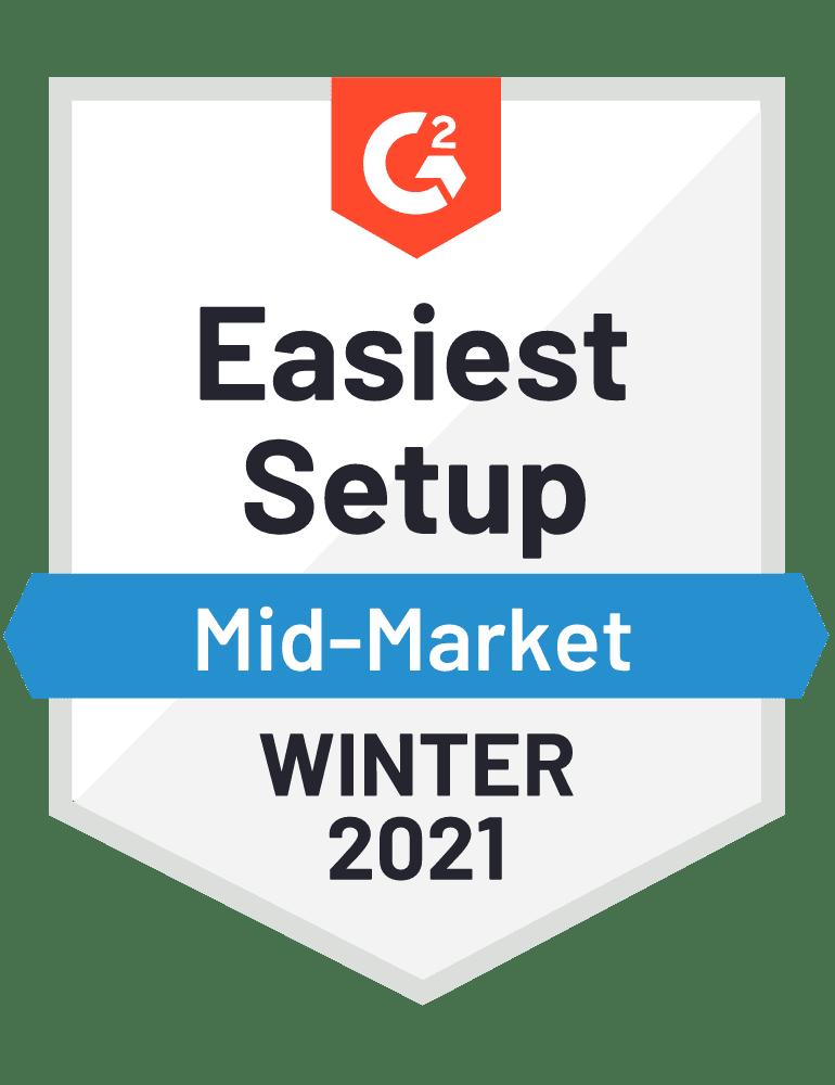 G2 Easiest Setup Mid Market Winter 2021