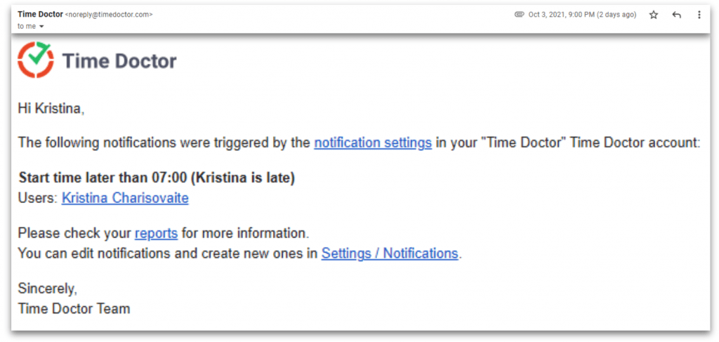 time doctor email notification